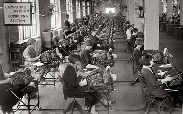 US Veterans' Bonus Bureau, Computing Division in Washington, DC, circa 1924.