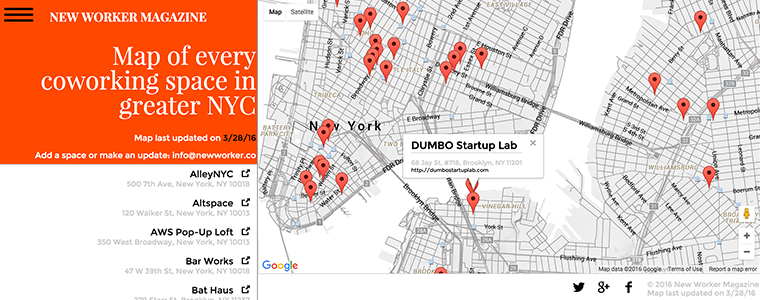 We launched a map of every coworking space in greater NYC New